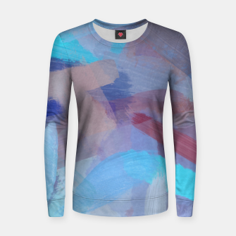 Thumbnail image of brush painting texture abstract background in blue brown Women sweater, Live Heroes