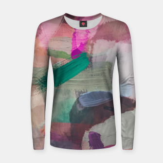 Thumbnail image of brush painting texture abstract background in pink brown green Women sweater, Live Heroes