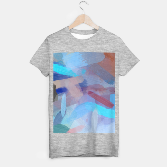 Thumbnail image of brush painting texture abstract background in blue brown T-shirt regular, Live Heroes