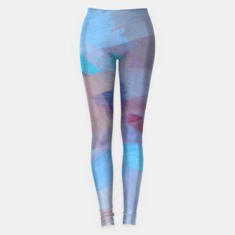 Thumbnail image of brush painting texture abstract background in blue brown Leggings, Live Heroes