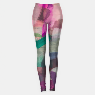 Thumbnail image of brush painting texture abstract background in pink brown green Leggings, Live Heroes