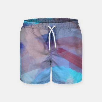 Thumbnail image of brush painting texture abstract background in blue brown Swim Shorts, Live Heroes