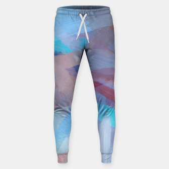 Thumbnail image of brush painting texture abstract background in blue brown Sweatpants, Live Heroes