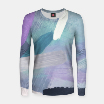 Thumbnail image of brush painting texture abstract background in purple green black Women sweater, Live Heroes