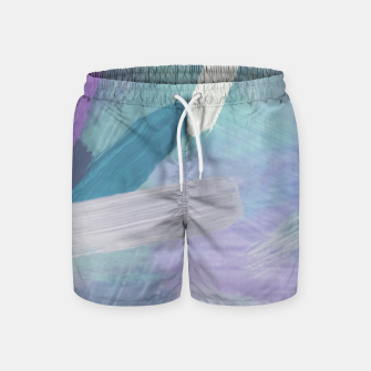 Thumbnail image of brush painting texture abstract background in purple green black Swim Shorts, Live Heroes