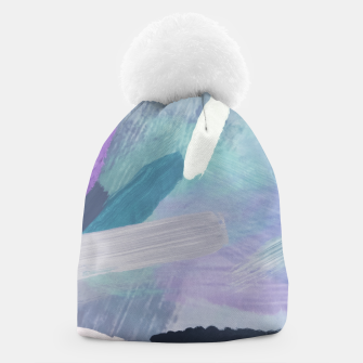 Thumbnail image of brush painting texture abstract background in purple green black Beanie, Live Heroes