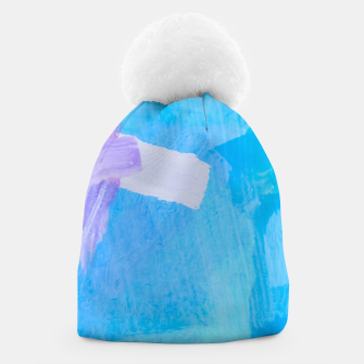 Thumbnail image of brush painting texture abstract background in blue purple Beanie, Live Heroes