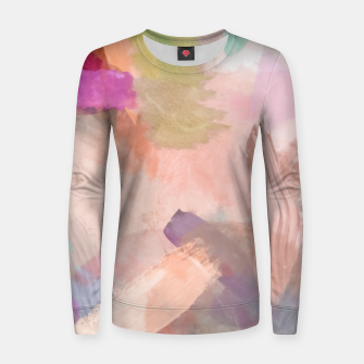 Thumbnail image of brush painting texture abstract background in pink purple yellow green Women sweater, Live Heroes
