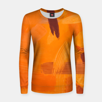 Thumbnail image of brush painting texture abstract background in orange brown Women sweater, Live Heroes