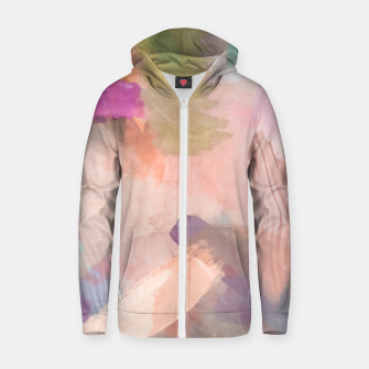 Miniatur brush painting texture abstract background in pink purple yellow green Zip up hoodie, Live Heroes