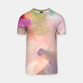 Miniatur brush painting texture abstract background in pink purple yellow green T-shirt, Live Heroes