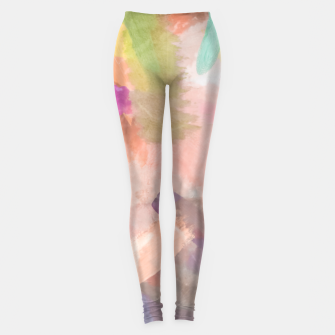 Thumbnail image of brush painting texture abstract background in pink purple yellow green Leggings, Live Heroes