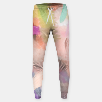 Thumbnail image of brush painting texture abstract background in pink purple yellow green Sweatpants, Live Heroes