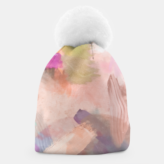 Thumbnail image of brush painting texture abstract background in pink purple yellow green Beanie, Live Heroes