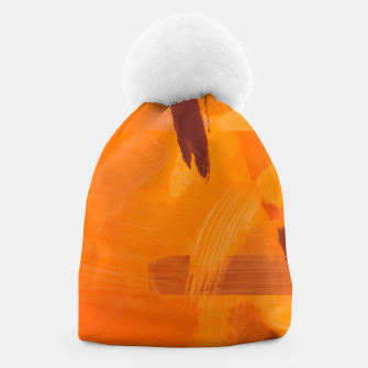 Thumbnail image of brush painting texture abstract background in orange brown Beanie, Live Heroes
