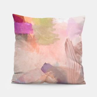 Miniatur brush painting texture abstract background in pink purple yellow green Pillow, Live Heroes