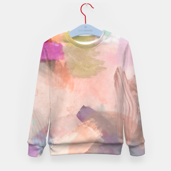 Miniatur brush painting texture abstract background in pink purple yellow green Kid's sweater, Live Heroes