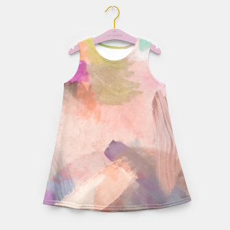 Miniatur brush painting texture abstract background in pink purple yellow green Girl's summer dress, Live Heroes