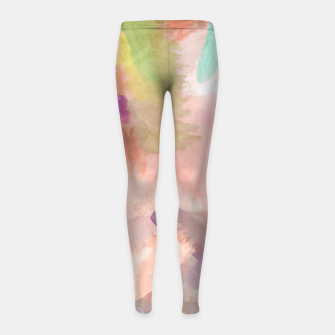 Miniatur brush painting texture abstract background in pink purple yellow green Girl's leggings, Live Heroes