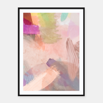 Miniatur brush painting texture abstract background in pink purple yellow green Framed poster, Live Heroes
