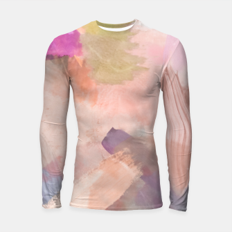 Miniatur brush painting texture abstract background in pink purple yellow green Longsleeve rashguard , Live Heroes