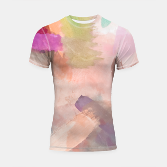 Miniatur brush painting texture abstract background in pink purple yellow green Shortsleeve rashguard, Live Heroes