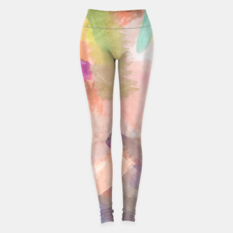 Miniatur brush painting texture abstract background in pink purple yellow green Leggings, Live Heroes