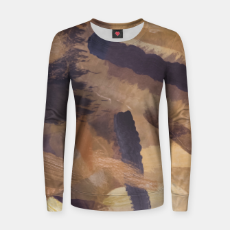 Thumbnail image of brush painting texture abstract background in black and brown Women sweater, Live Heroes