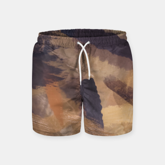Thumbnail image of brush painting texture abstract background in black and brown Swim Shorts, Live Heroes