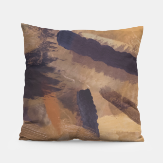 Thumbnail image of brush painting texture abstract background in black and brown Pillow, Live Heroes