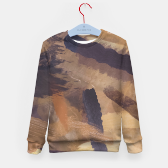 Thumbnail image of brush painting texture abstract background in black and brown Kid's sweater, Live Heroes