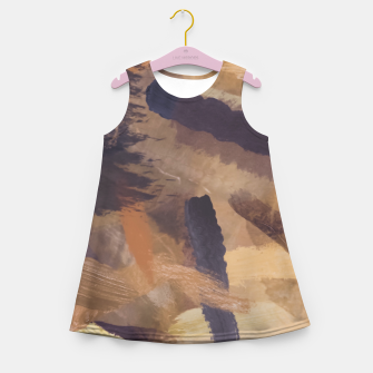 Thumbnail image of brush painting texture abstract background in black and brown Girl's summer dress, Live Heroes