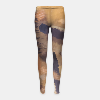 Thumbnail image of brush painting texture abstract background in black and brown Girl's leggings, Live Heroes