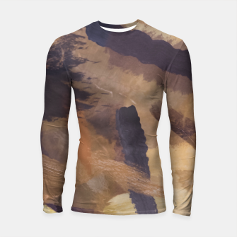 Thumbnail image of brush painting texture abstract background in black and brown Longsleeve rashguard , Live Heroes