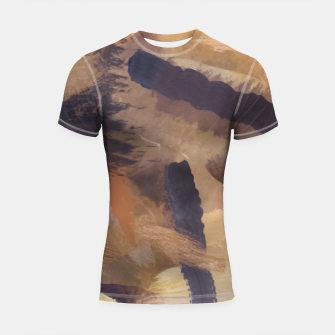 Thumbnail image of brush painting texture abstract background in black and brown Shortsleeve rashguard, Live Heroes