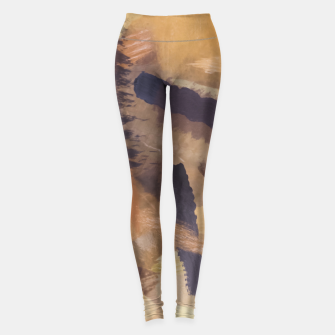 Thumbnail image of brush painting texture abstract background in black and brown Leggings, Live Heroes
