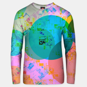 Miniatur geometric circle pattern abstract in blue pink green yellow Unisex sweater, Live Heroes