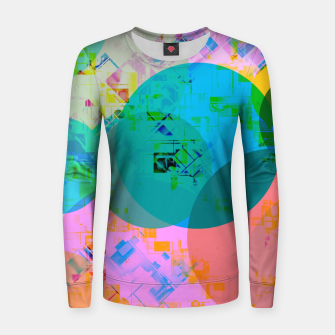 Thumbnail image of geometric circle pattern abstract in blue pink green yellow Women sweater, Live Heroes
