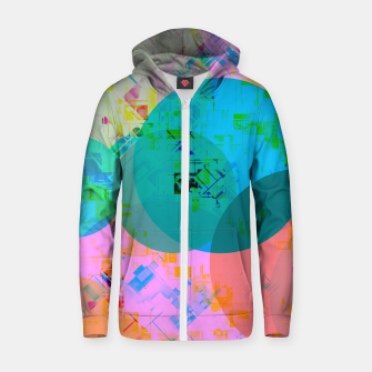 Miniatur geometric circle pattern abstract in blue pink green yellow Zip up hoodie, Live Heroes