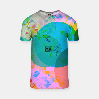 Miniatur geometric circle pattern abstract in blue pink green yellow T-shirt, Live Heroes