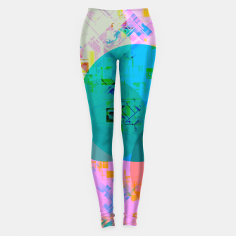 Thumbnail image of geometric circle pattern abstract in blue pink green yellow Leggings, Live Heroes