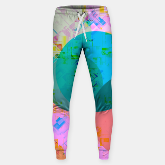 Thumbnail image of geometric circle pattern abstract in blue pink green yellow Sweatpants, Live Heroes