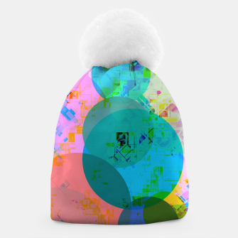 Thumbnail image of geometric circle pattern abstract in blue pink green yellow Beanie, Live Heroes