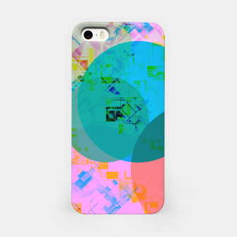 Miniatur geometric circle pattern abstract in blue pink green yellow iPhone Case, Live Heroes