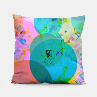 Miniatur geometric circle pattern abstract in blue pink green yellow Pillow, Live Heroes