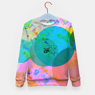Miniatur geometric circle pattern abstract in blue pink green yellow Kid's sweater, Live Heroes