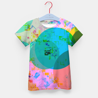 Miniatur geometric circle pattern abstract in blue pink green yellow Kid's t-shirt, Live Heroes