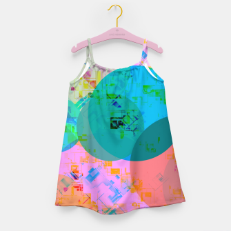 Miniatur geometric circle pattern abstract in blue pink green yellow Girl's dress, Live Heroes