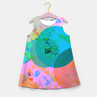 Miniatur geometric circle pattern abstract in blue pink green yellow Girl's summer dress, Live Heroes