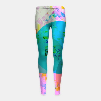 Miniaturka geometric circle pattern abstract in blue pink green yellow Girl's leggings, Live Heroes